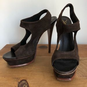 Gently Worn YSL Brown Suede Cutout Heels sz 40/10